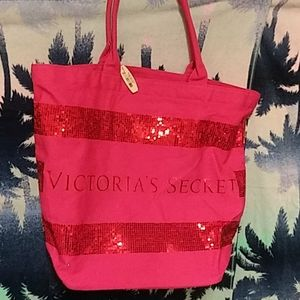 Victoria Secrets canvas tote sequins big spell out